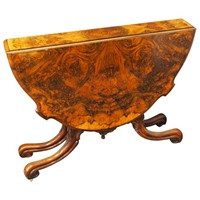 Large Victorian Burr Walnut Sutherland Tea Table