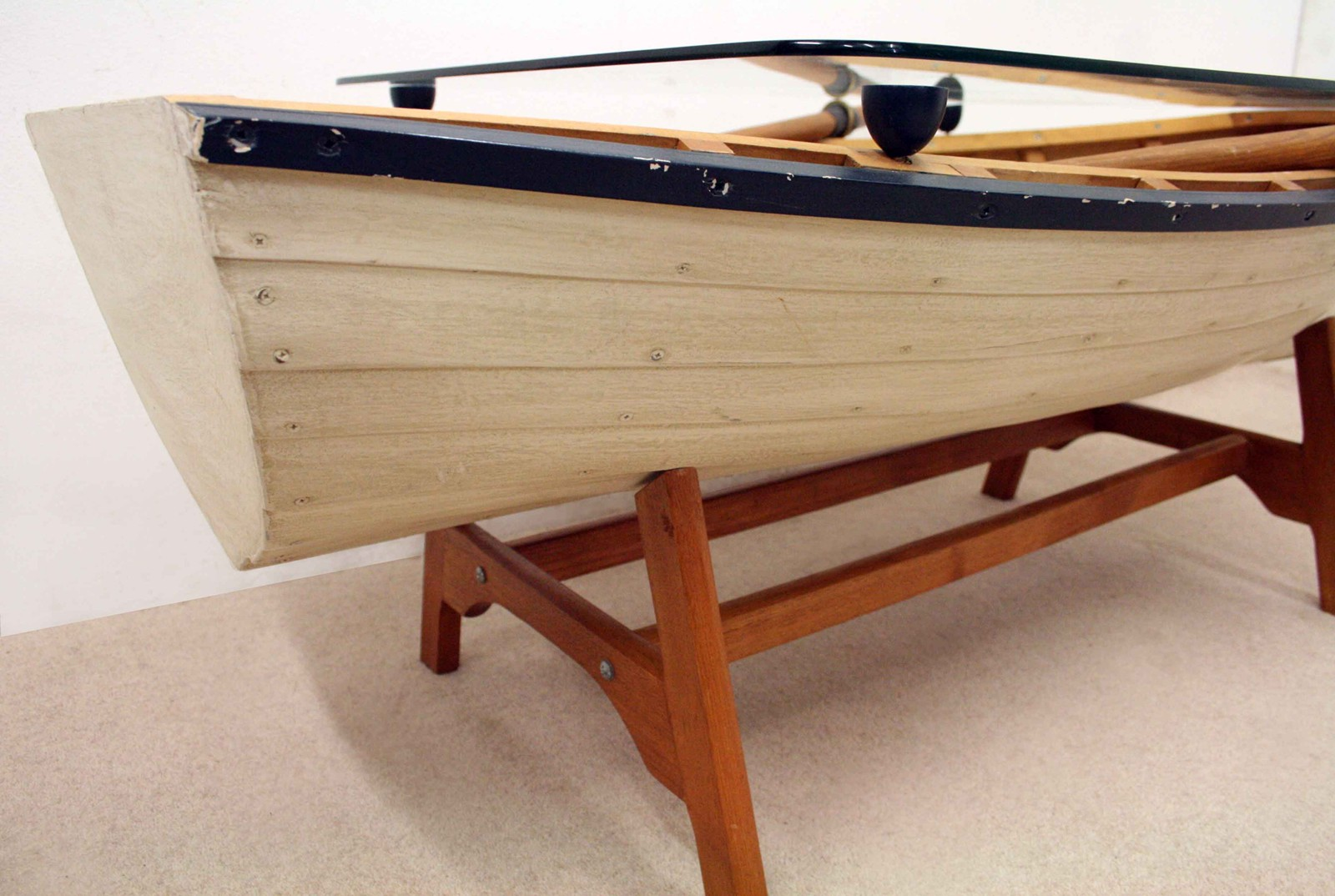 Model Rowing Boat Coffee Table Decorative Collective