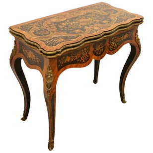 Louis XV Style French Marquetry Card Table