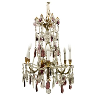 Unusual Ormolu and Glass Chandelier