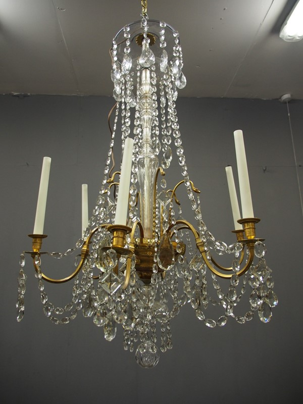 Large Gilt Brass and Glass Chandelier-georgian-antiques-P1010522-main-636776204081703436.JPG
