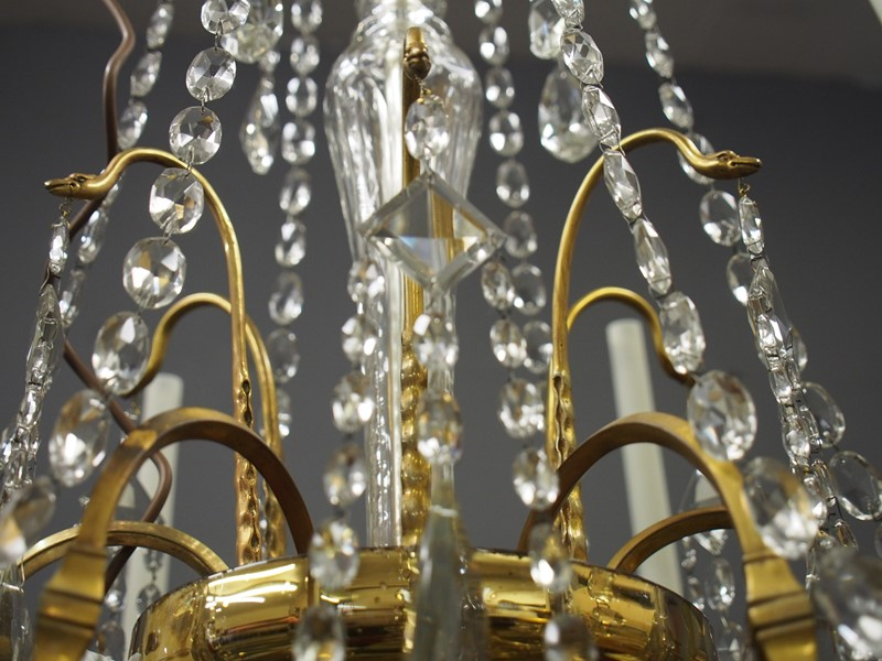 Large Gilt Brass and Glass Chandelier-georgian-antiques-P1010544-main-636776204470968535.JPG