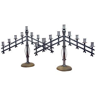 Pair of Industrial Style Steel Candelabra