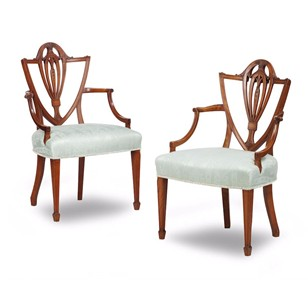 Pair of Hepplewhite Style Satinwood Elbow Chairs
