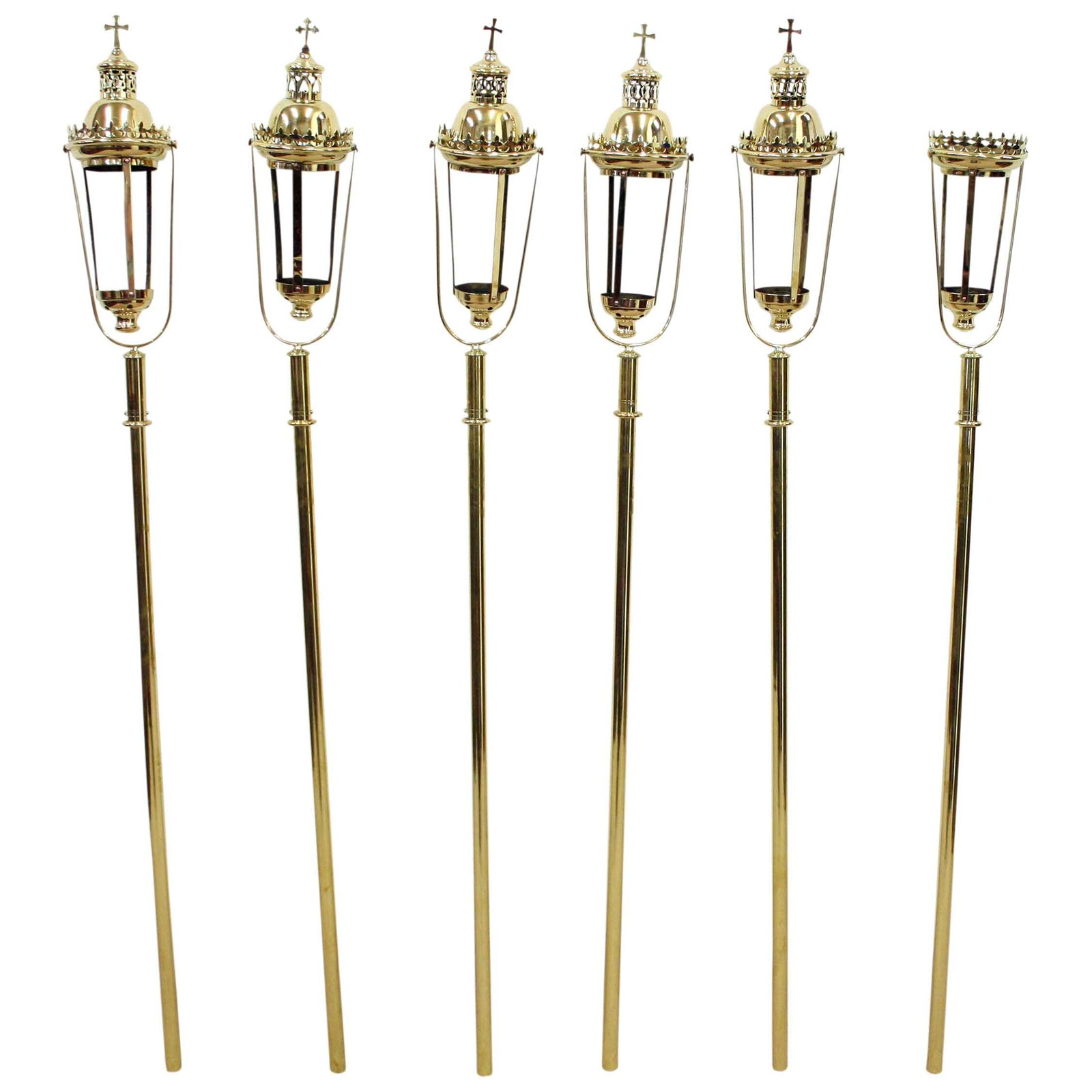 set of 6 brass processional candle holders decorative