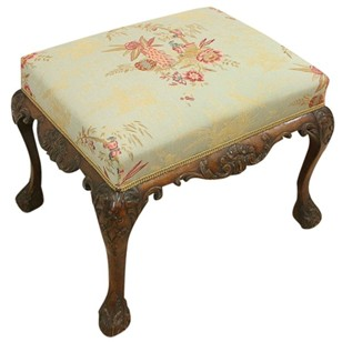 George III Style Carved Mahogany Stool