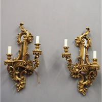 Chippendale Style Giltwood Wall Sconces