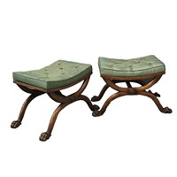 Pair of Regency Beech Stools Attrib. William Trott