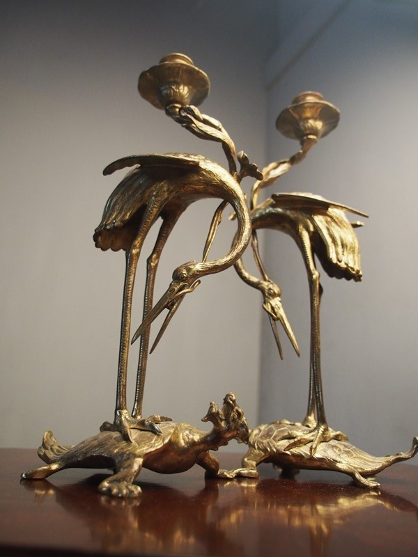 Pair of Chinese Gilded Brass Crane Candlesticks-georgian-antiques-p4040168-main-637298173680535026.JPG