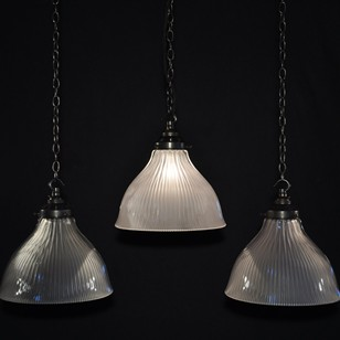 Antique holophane pendant lights x20