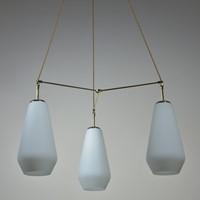 Opal Glass & Brass 1950s Tri-Light Chandeliers