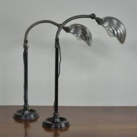 Rare Pair Clam Shell Task Lamps