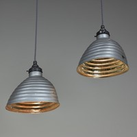Pair Beehive Silvered / Mirrored Pendant Shades