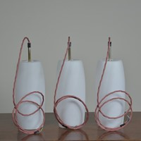 Trio Opal Glass Shades - Silvered Brass Fittings