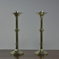 Antique Pair -Brass Hexagonal  Candlesticks