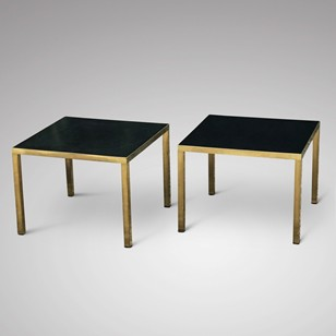 A Pair of Mid Century Black & Brass Side Tables