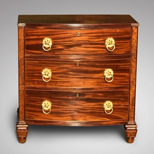 William IV Bow Front Mahogany & Burr Oak Chest
