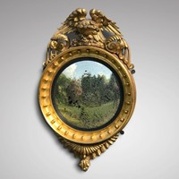 Regency Carved Giltwood Convex Mirror