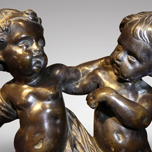 19thC Bronze Sculpture of Cupid and Putto