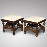 Pair of 19th Century Walnut Stools