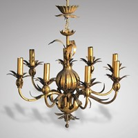 Italian Gilt Metal Pomegranate Chandelier