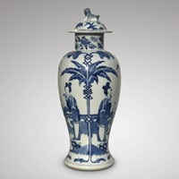19th Century Chinese Blue & White Baluster Vase &