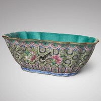 Qing Dynasty Chinese Lobed Rectangular Bowl