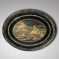 Victorian Papier Mache Tray with Marine Scene