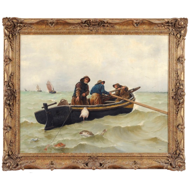 'Newfoundland Fishermen'-hugo's-antiques-Fishermen Painting - Main 1_main.jpg