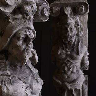 Pair of Architectural Plaster Caryatids.