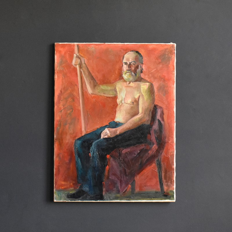 20th Century Oil of Male with Staff-hutt-dsc-0046-main-637374793847277709.JPG