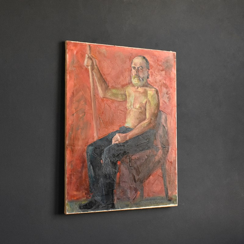 20th Century Oil of Male with Staff-hutt-dsc-0160-main-637374794674455094.JPG