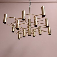 Vintage Brass Gaetano Sciolari 13 Light Chandelier
