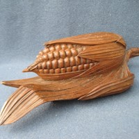Treen corn cob ink well