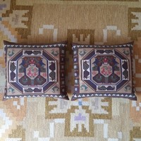 Rare pair of Swedish flat weave tapestry cushions