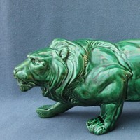 Green pottery lion