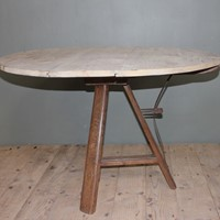 Round Pine Top Tipping Table