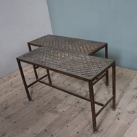 Pair of Coffee tables with 19c Brass grill tops