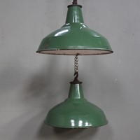 Pair of industrial Green enamel hanging light