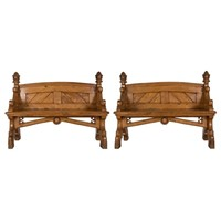 Pair of 19th Century Elm Hall Benches