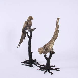 Pair of Painted Brass Parrot Sculptures