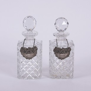 Pair of Decanters With Spirit Labels