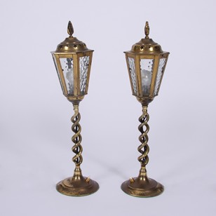 Pair of Vintage 1960s Brass Table Lanterns