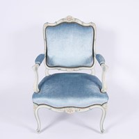 French Antique Salon Chair in Light Blue Velvet