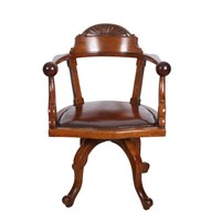 English Oak Desk Chair With Leather Fixed Cushion
