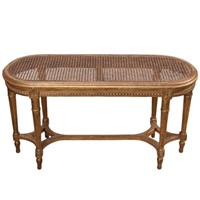 French Early 20th Century Cane & Giltwood Bench