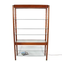 Vintage 1960s Lit Wooden and Glass Bookshelf