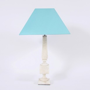 Cream Marble Table Lamp in Column and Plinth