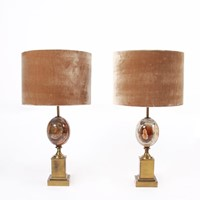 Pair of Marble Egg Table Lamps by Maison Charles