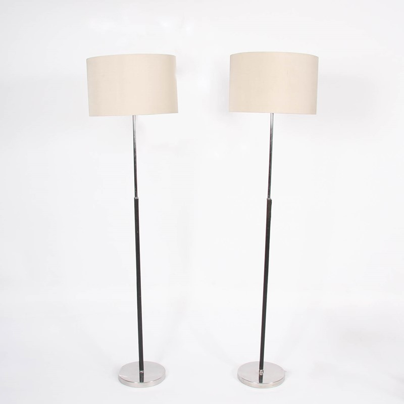 Pair of Swedish 1960s Leather & Chrome Floor Lamps-james-worrall-pair-of-silver-and-black-leather-floor-lamps-a-main-636901602418134876.jpg